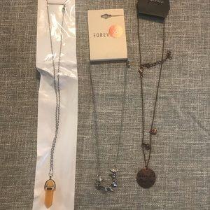 Brand New 3pc Necklace Lot - Orange /Bronze/Silver